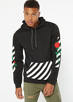 Black Caution Tape Rose Embroidered Hoodie