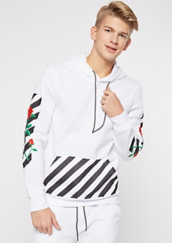 White Rose Embroidered Side Striped Hoodie