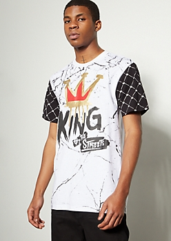 White Marble Print Foil King Graphic Tee