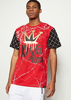Red Marble Print Foil King Graphic Tee