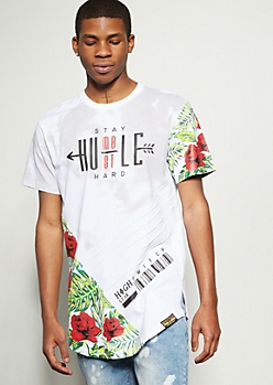 White Smoky Stay Humble Rose Graphic Tee