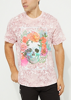 Light Pink Skull & Flowers Paint Splatter Tee