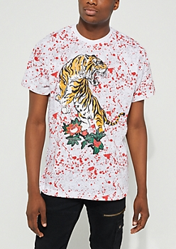 Zodiac Tiger Paint Splattered Tee