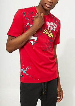 Red Skull And Heart Paint Splattered Tee