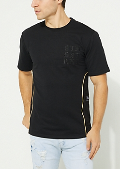 Black Faux Suede Gold Piping Tee