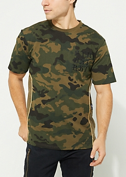 Olive Camo Print Gold Piping Tee