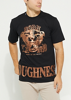 Black Bronze Foil Studded Lion Tee
