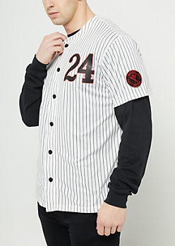 White Striped Hustlers Baseball Jersey