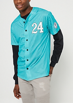 Mint Striped Hustlers Baseball Jersey