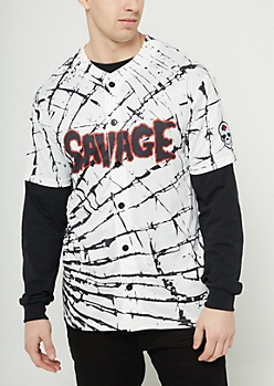 Glass Shattered Savage Baseball Jersey
