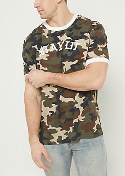 Olive Camo Print Stay Lit Ringer Tee