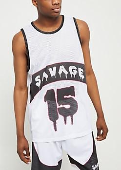 White Colorblock Savage Jersey