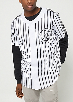 White Grand Pinstriped Jersey