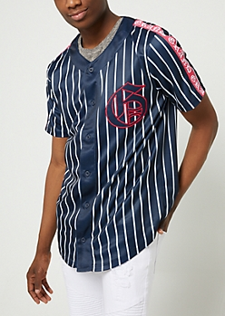 Navy Grand Pinstriped Jersey