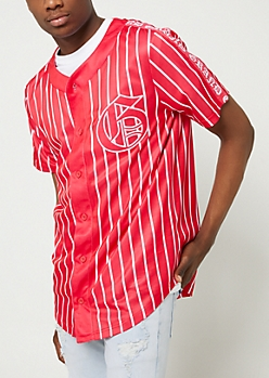 Red Grand Pinstriped Jersey