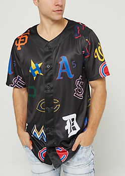 Black Team Logo Baseball Jersey
