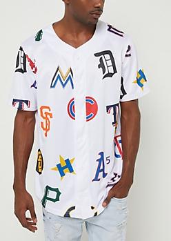 White Team Logo Baseball Jersey