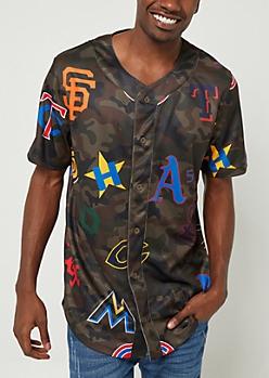 Camo Print Team Logo Baseball Jersey