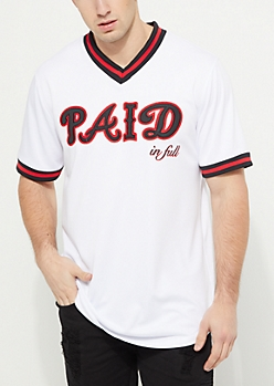 White Paid In Full Baseball Jersey
