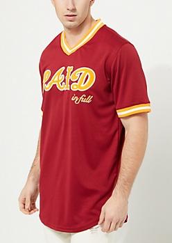 Burgundy Paid In Full Baseball Jersey
