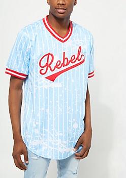Light Blue Rebel Paint Splattered Baseball Jersey