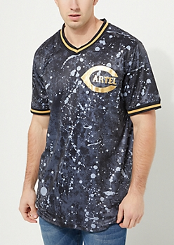 Black Paint Splatter Cartel Baseball Jersey