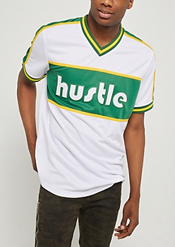 White Hustle Color Block Jersey