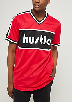 Red Hustle Color Block Jersey