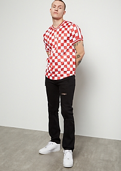 Red Checkered Print Side Striped Jersey Tee