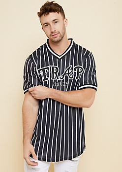 Black Pinstripe Trap House Baseball Tee