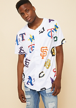 White Mixed Team Logo Baseball Jersey