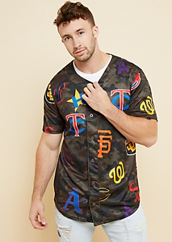 Camo Mixed Team Logo Baseball Jersey