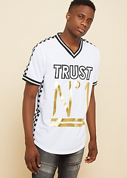White Trust No One Checkerboard Jersey Tee