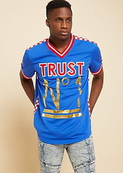 Blue Trust No One Checkerboard Jersey Tee