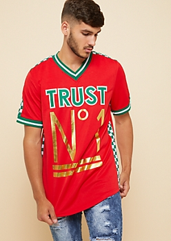 Red Trust No One Checkerboard Jersey Tee