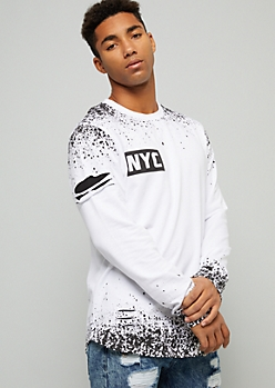 White NYC Ripped Paint Splattered Graphic Tee