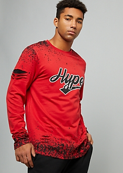 Red Hype Paint Splattered Ripped Graphic Tee