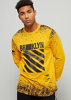 Mustard Brooklyn Ripped Paint Splattered Graphic Tee