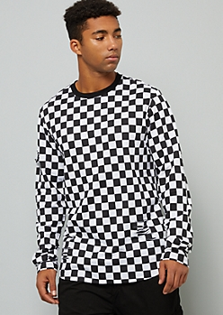 Checkered Print Ripped Long Sleeve Ringer Tee