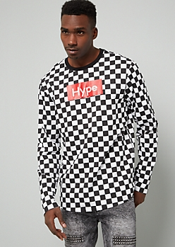 Black Hustle Checkered Print Long Sleeve Tee