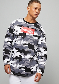 Gray Camo Print Savage Long Sleeve Graphic Tee