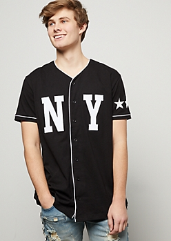 Black NY Legendary Star Baseball Graphic Tee