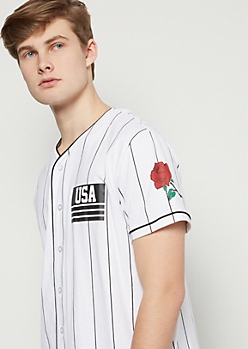 White Striped USA Rose Graphic Jersey