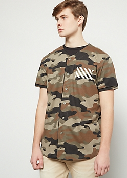 Camo Print Striped New York Baseball Graphic Tee