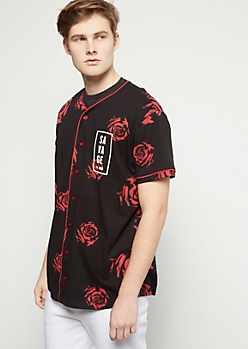 Black Rose Print Savage Baseball Graphic Tee