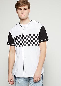 Checkered Print Colorblock Baseball Tee