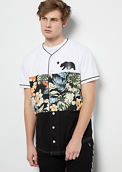 White Colorblock Floral Print Cali Graphic Jersey