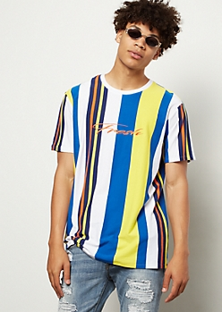 Yellow Striped Fresh Embroidered Tee