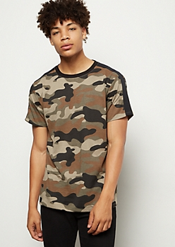 Camo Print Side Striped Crew Neck Tee
