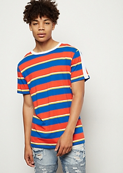 Red Side Striped Crew Neck Tee